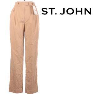 St.John Designer Tan Khaki Casual Straight Pant